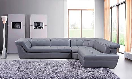Amazon.com: 397 Modern Grey Italian Leather Sectional Sofa ...