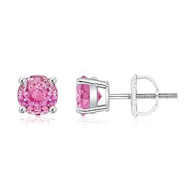 Angara Basket-Set Round Pink Tourmaline Stud Earrings in White Gold 1aljj