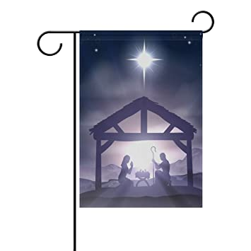 alaza christmas christian nativity scene polyester garden flag house banner 28 x 40 inch two - Christian Outdoor Christmas Decorations