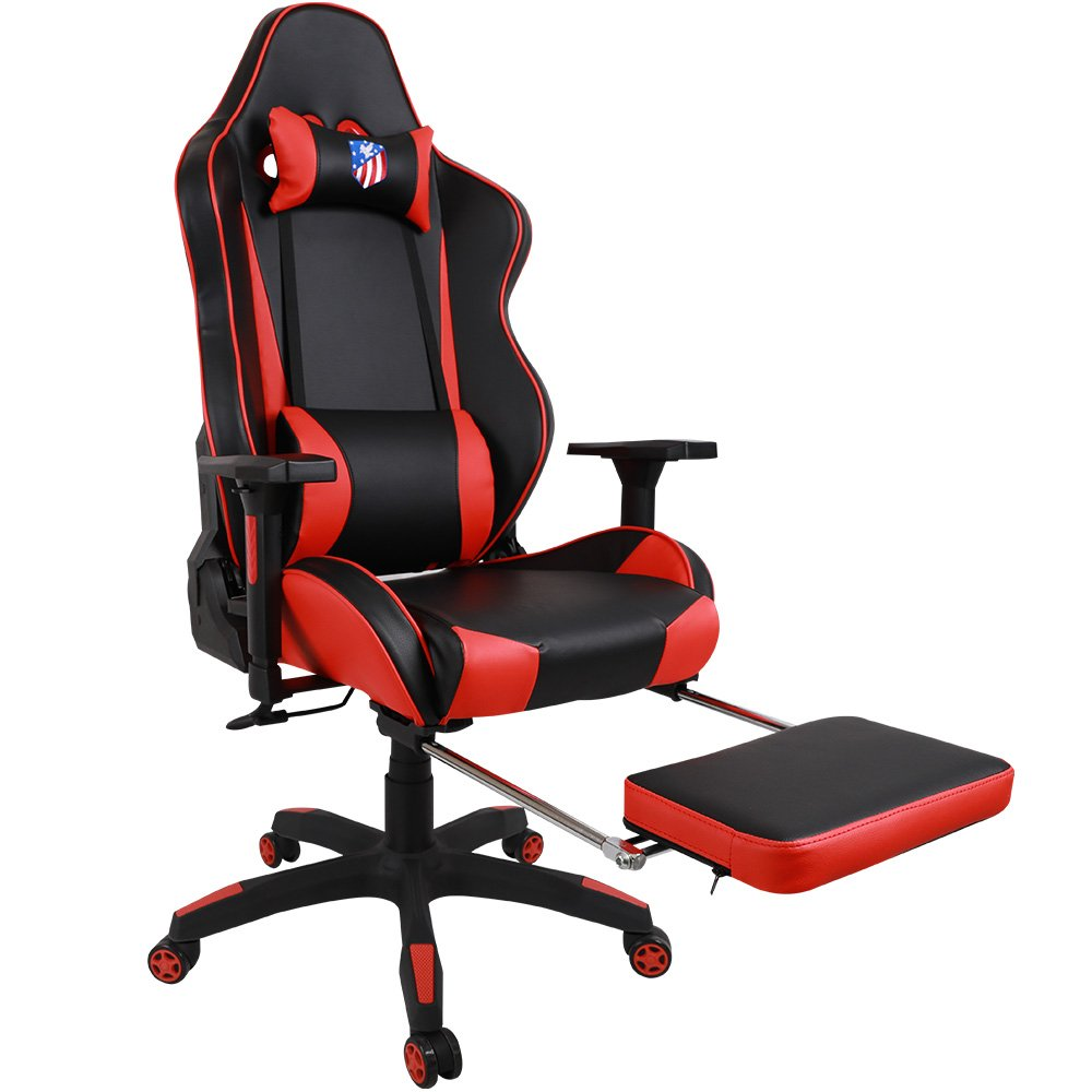 [BLACK FRIDAY PROMOTION] Kinsal Gaming Chair High-back Computer Chair, Ergonomic Racing Chair , Leather Premium Lumbar Support Swivel Executive Office Chair Including Headrest and Lumbar Pillow (Red) by Kinsal