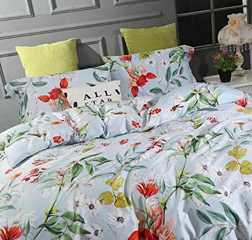 Windflower Bedding Bloomfield Floral Duvet Cover 3pc Set Cotton Botanical Nature Vines Branches Birds Butterflies Multicolored Flowers (Queen, Sky (Multi Colored Daisies)