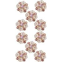 10x Botones de Flores de Rhinestone DIY Accesorios