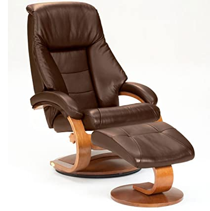 Oslo Collection Mac Motion Leather Recliner With Matching Ottoman