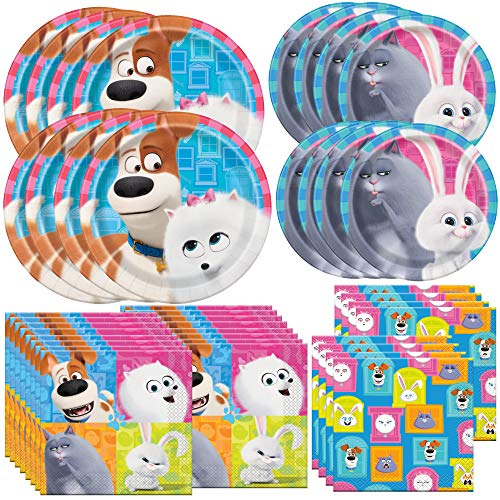 Unique Secret Life of Pets 2 Party Bundle | Luncheon & Beverage Napkins, Dinner & Dessert Plates, Table Cover | Great for Kids Birthday Party, Halloween, Christmas, Family Reunions (Secret Life Of Pets Birthday Party Invitations)