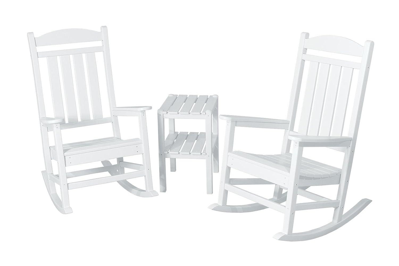 POLYWOOD PWS138-1-WH Presidential 3-Piece Rocker Chair Set, White