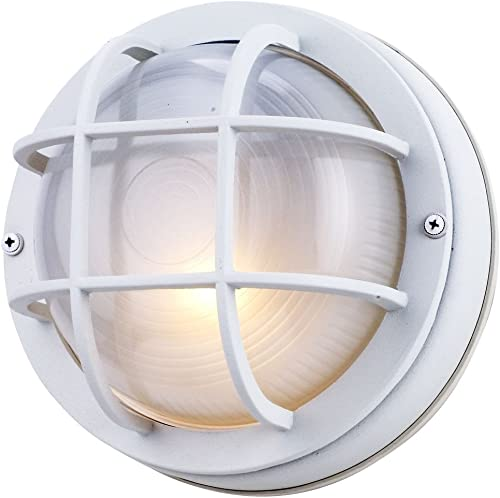 8-Inch Round Bulkhead Wall-Mount Light in White Finish