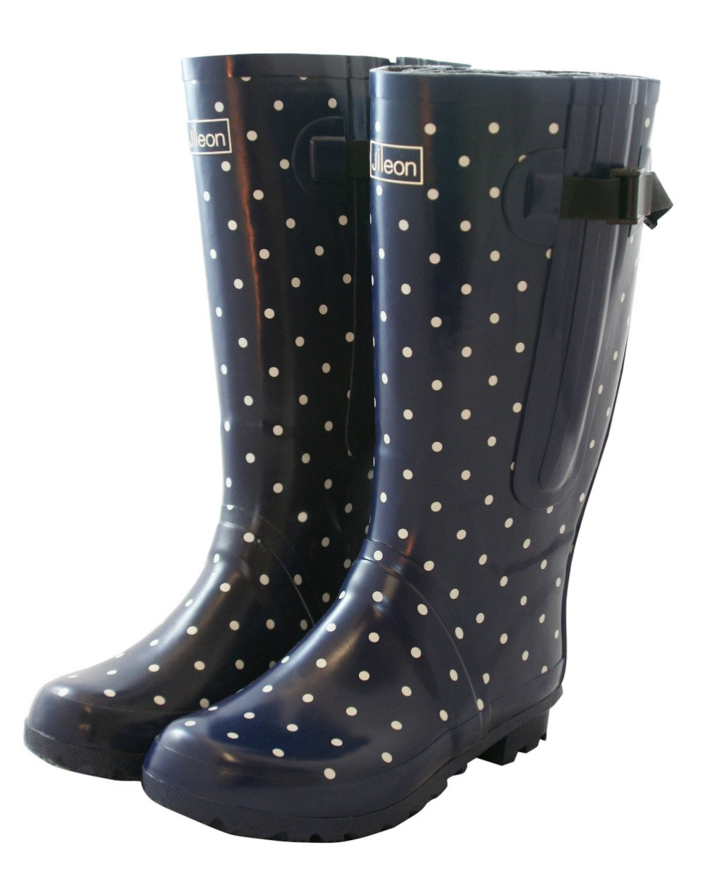 Jileon Extra Wide Calf Rubber Rain Boots for Women-Widest Fit Boots in The US-up to 21 inch Calves-Wide in The Foot and Ankle B012D69III 11 E (Extra Wide) US|Navy With White Polka Dots