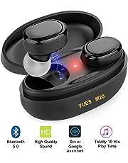 YUES M20 Auriculares Bluetooth 5.0, Mini Estéreo 3D Inalámbricos Micrófono, hasta 10 Horas de Juego con Estuche de Carga,Compatible con Teléfonos iPhone y Android.
