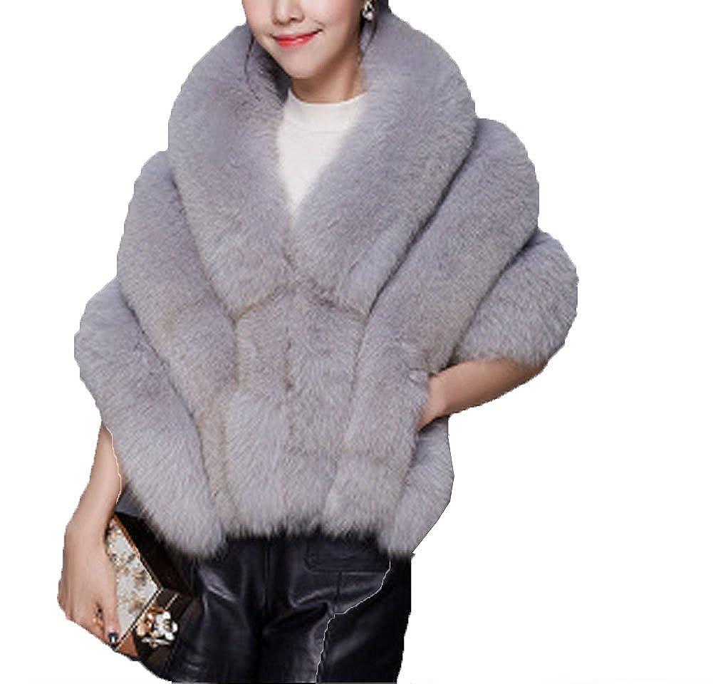 Aurora Bridal Elegent Fur Princess Faux Fur Collar Winter Warm Scarf AB_SF018_Gray