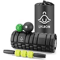 LYCAON Foam Roller Set voor spieren-spanning/fitness/yoga/pilates, 5 stuks inclusief yoga roller, massage stick, massage…