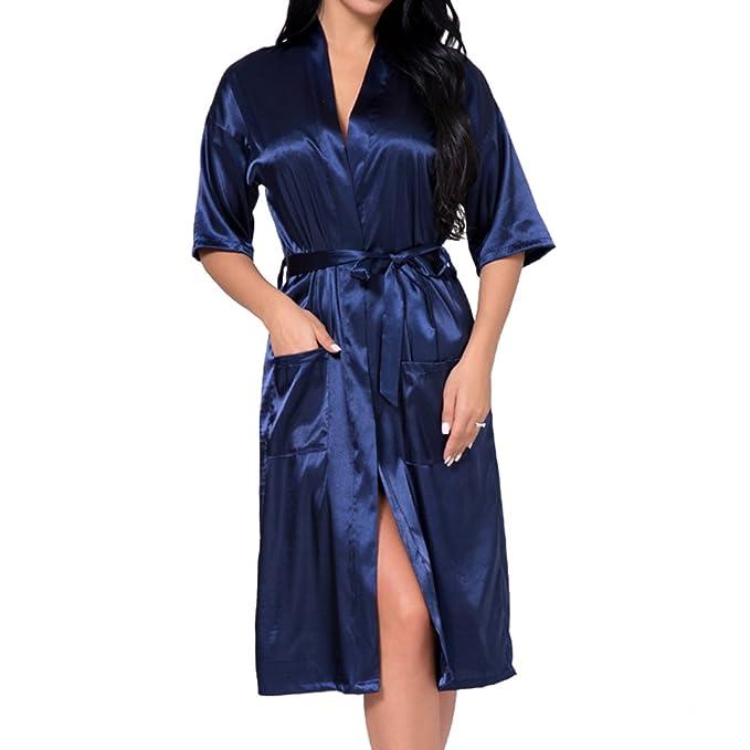 Hibote Boda Seda Satén Ropa de Dormir Personalizada Bata de Boda Dama de Honor Novia Madre Bata: Amazon.es: Ropa y accesorios