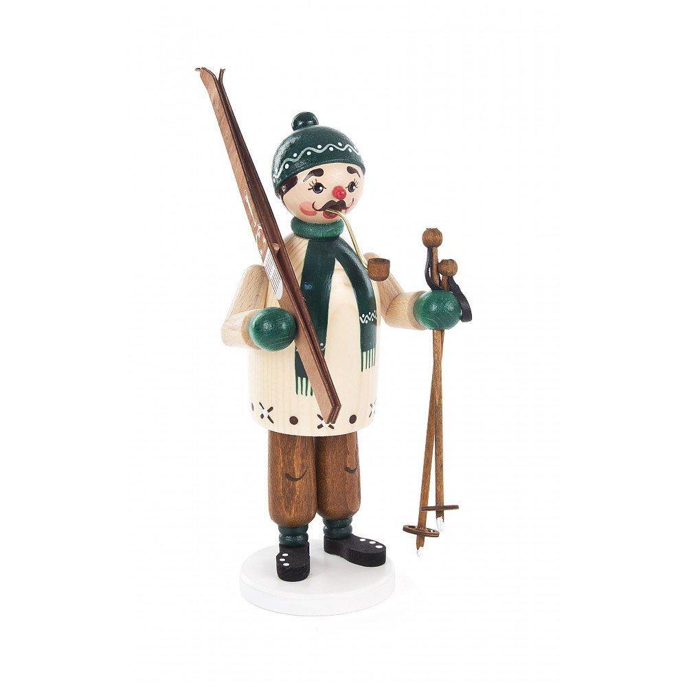 Räuchermann Skifahrer von DREGENO SEIFFEN 20cm – Original erzgebirgische Handarbeit, stimmungsvolle Weihnachts-Dekoration