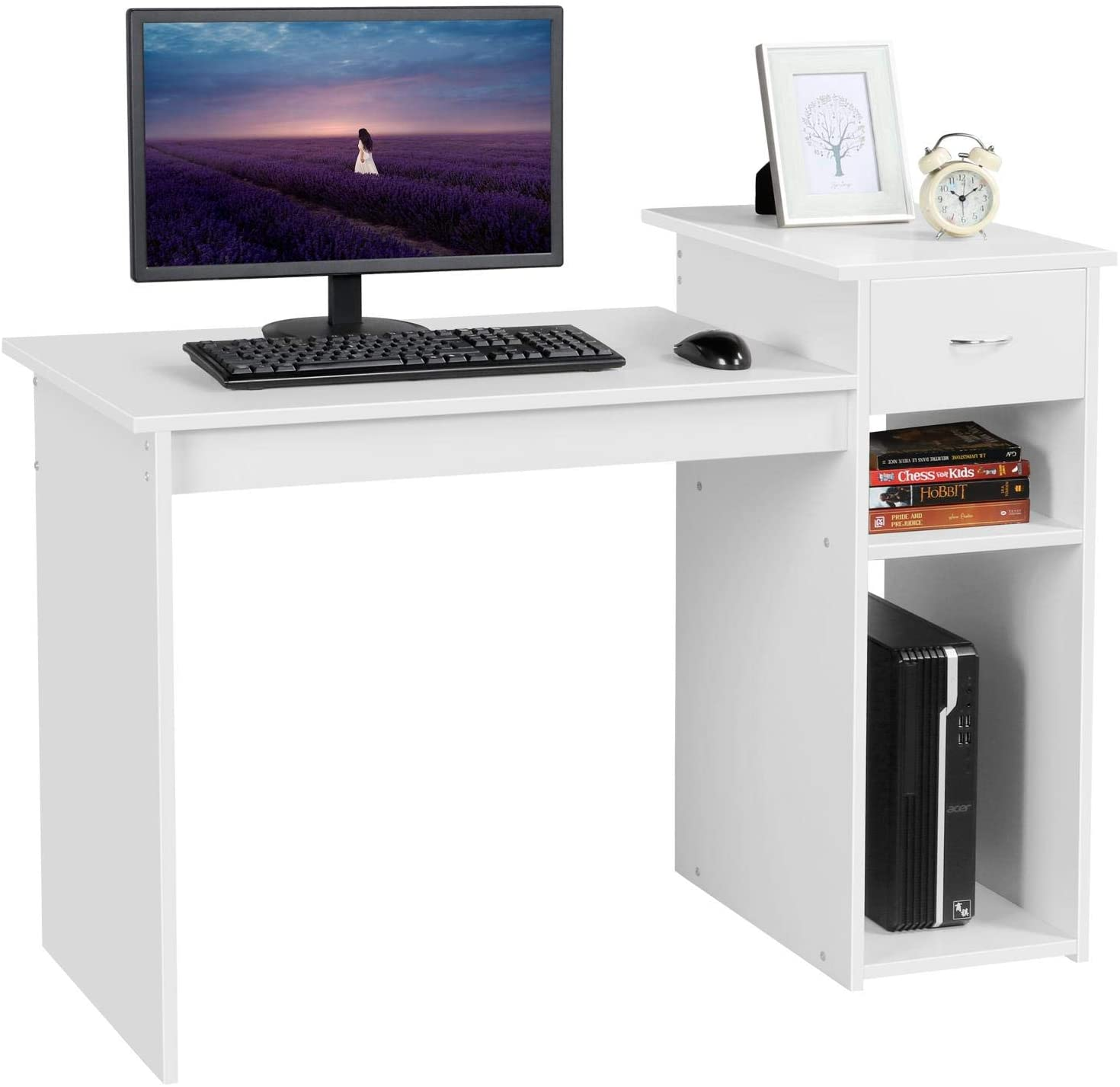 Computer Desk with Wheels /& Shelves White MDF for Office Home PC Laptop Study