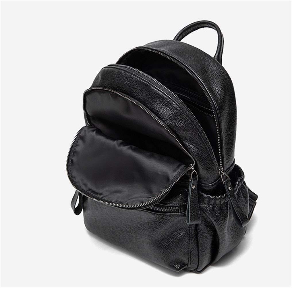 ZYSTMCQZ dammode ryggsäck väska ledig vattentät äkta läder stöldsäker äkta kohud vintage väskpaket kvinna ryggsäck dam resväska svart (färg: svart) Svart