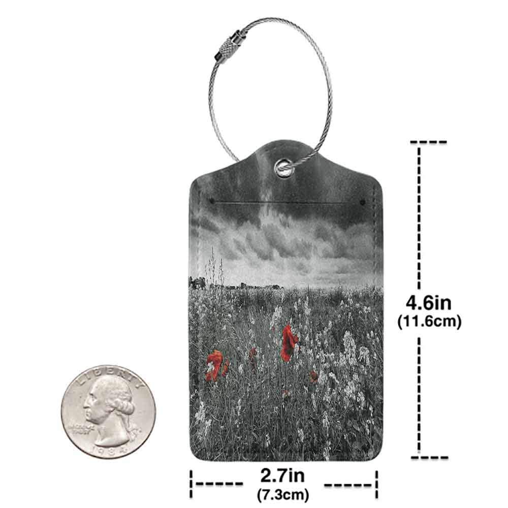 Personalized luggage tag Floral Greyscale Poppy Field in Spring Time Blooming Flowers Grass Open Sky Photo Easy to carry Dark Green Vermilion W2.7 x L4.6