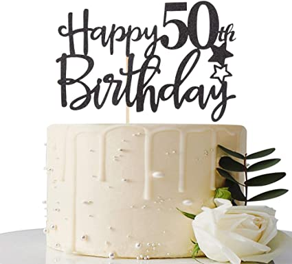 Amazon.com: Decoración para tarta de 50 cumpleaños, diseño ...