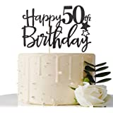 MaiCaiffe Black Happy 50th Birthday Cake Topper,Hello 50 ,Cheers to 50 Years,50 & Fabulous Party Decoration