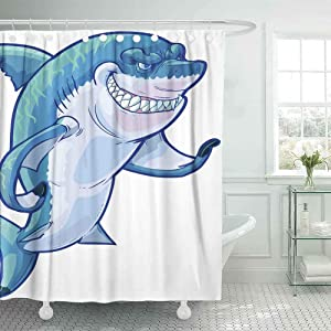 Douecish Wide Shower Curtain, Cartoon Clip Art Tough Mean Smiling Shark Mascot Its Fin The Caustic Lighting Stripes The Back 78X72 Inch with Hooks Waterproof Eco-Friendly Shower Curtain for Bathroom
