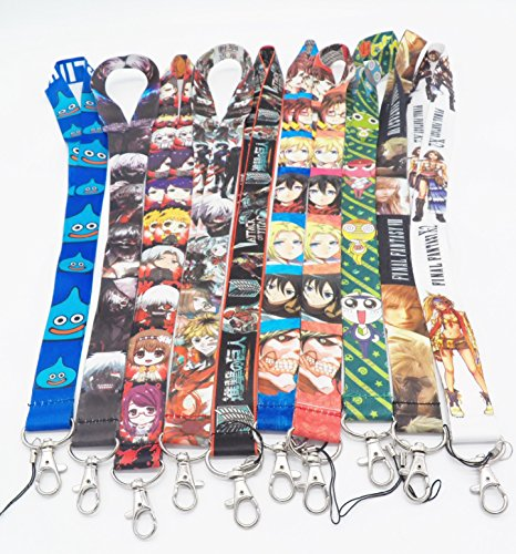 10 Assorted Anime Slime Attack on Titan Phone Key Chain Strap LANYARD Set #13