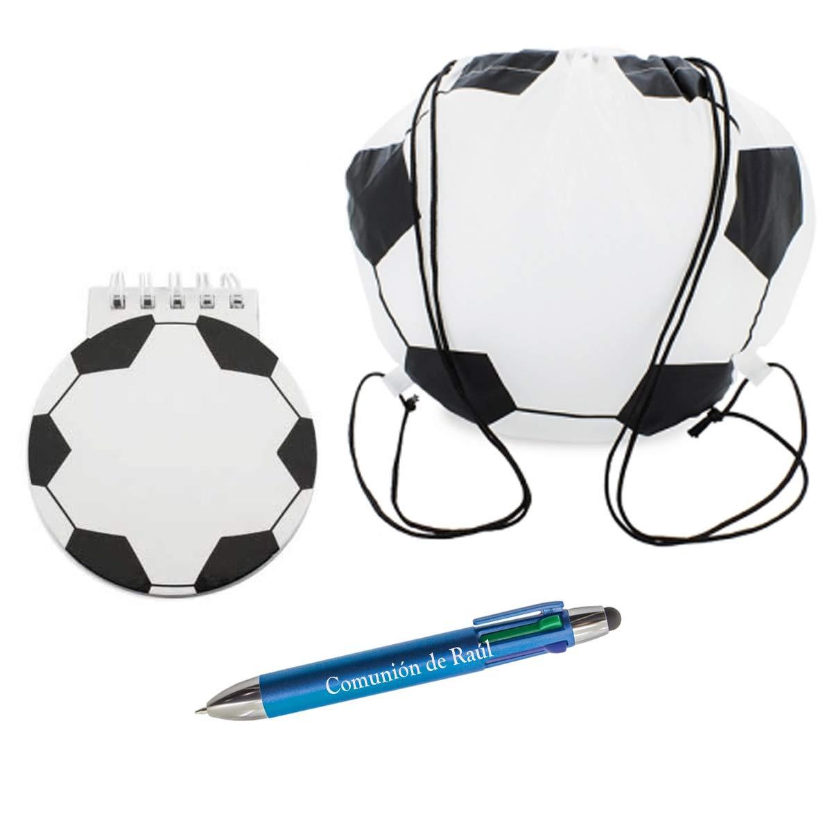 Set de bolsa, libreta con forma de balon y bolígrafo PERSONALIZADO ...