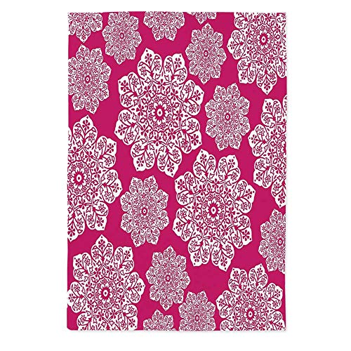 (Hot Pink Waterproof Tablecloth,White Floral Design Ornate Mandala Inspired Round Motifs Traditional Pattern for Dining Table Tea Table Desk Secretaire,70.1''W X 84''L)