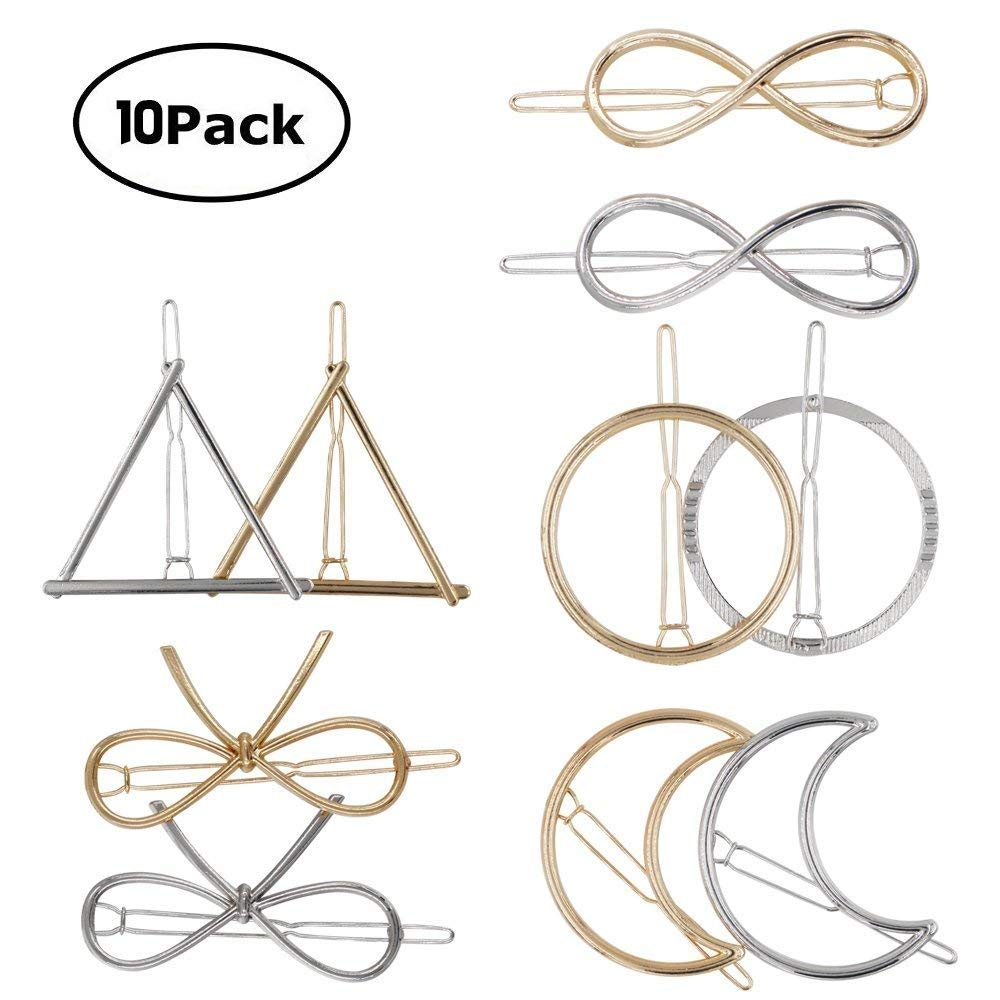 Simple Hair Clip Clamps for Women, 10 PCS Minimalist Dainty Hair Barrettes, Hollow Geometric Metal Hairpin for Girls Thick Hair Styling (Gold and Silver) Okdeals