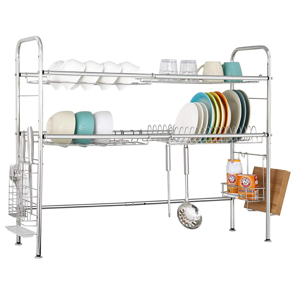 NEX 2-Tier Drying Rack for Kitchen Stainless Steel Dish Dryer Length Adjustable, Silver