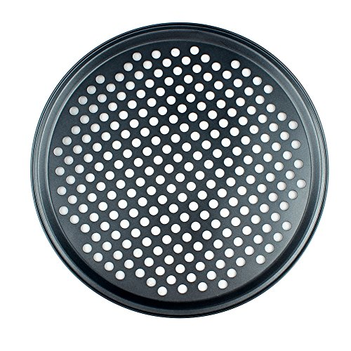 CENZ Nonstick Pizza Vented Pan,Teflon Carbon Steel Crispy Pizza Pan with Holes-13 Inch