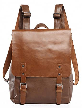 198f7422959e Amazon.com  Kenox Vintage PU Leather Laptop Backpack Knapsack Rucksack  Weekender Daypack Bag  Kenox Leather