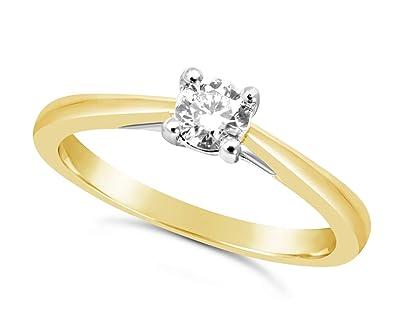 Bague en or jaune 1/4 carat avec gros diamant au centre pour femme