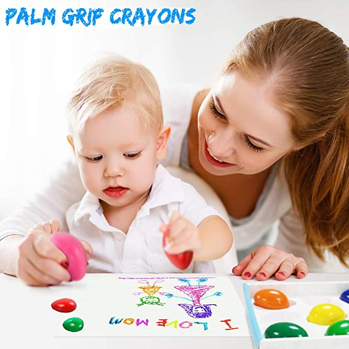 limmyun Crayons for Kids 9 Colors Toddlers Egg Shaped Crayons Paint Non-Toxic Wax Crayon Toys Learning Drawing Pen Graffiti