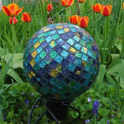 Sunnydaze Mosaic Gazing Globe Glass Garden Ball, Outdoor Lawn and Yard Ornament, Blue, 10 Inch, Set of 2 by Sunnydaze Decor (Image #1)