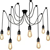 Lightess Vintage Multiple Adjustable DIY Ceiling Spider Pendant Lighting Chandelier (8 Heads)