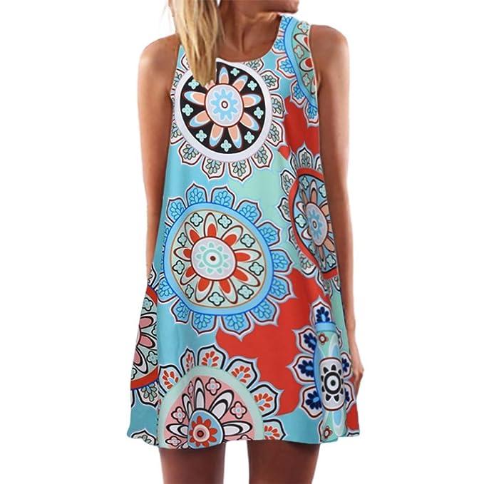 85285225a9fd2 Damen Sommer Abendkleid Rosennie Frauen lose Mode Elegant süße Sommer O- Ausschnitt Chic ärmellose Einzigartig