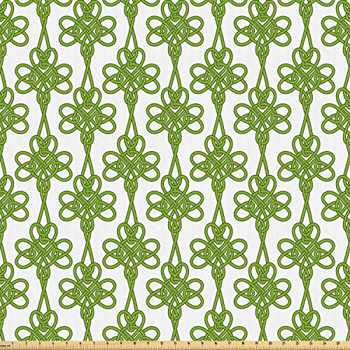 (Ambesonne Irish Fabric by The Yard, Entangled Clover Leaves Twigs Celtic Pattern Botanical Filigree Inspired Retro Tile, Microfiber Fabric for Arts and Crafts Textiles & Decor, 5 Yards, Green Cream)