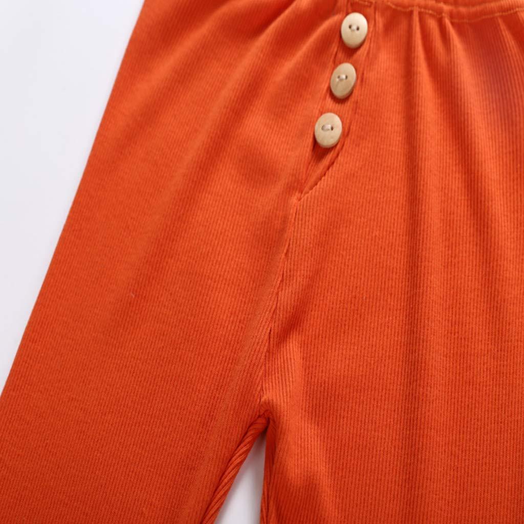 JOYKK Pigiama per Pigiami da Notte a Manica Lunga Set di Bottoni Color Caramella Arancione 140 Top