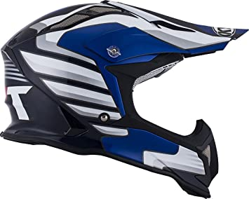 KYT ysea0013.2 Casco Moto, Color blanco/azul, XS