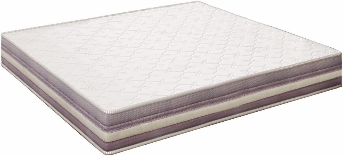 elalmacendelcolchon Colchón viscoelástico Modelo Premium, 135 x 190 x 20cm - Todas Las Medidas, Blanco y Lila