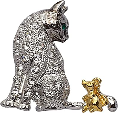 Jodie Rose Clear Crystal Cat and Mouse Brooch Gr45UPtLY