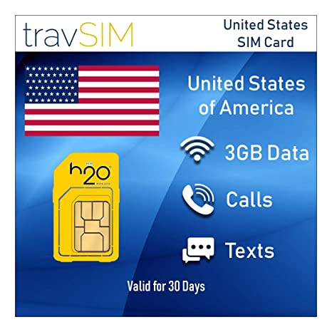 Tarjeta SIM Prepagada h2O USA 3GB Mobile Data 3G / 4G / LTE ...