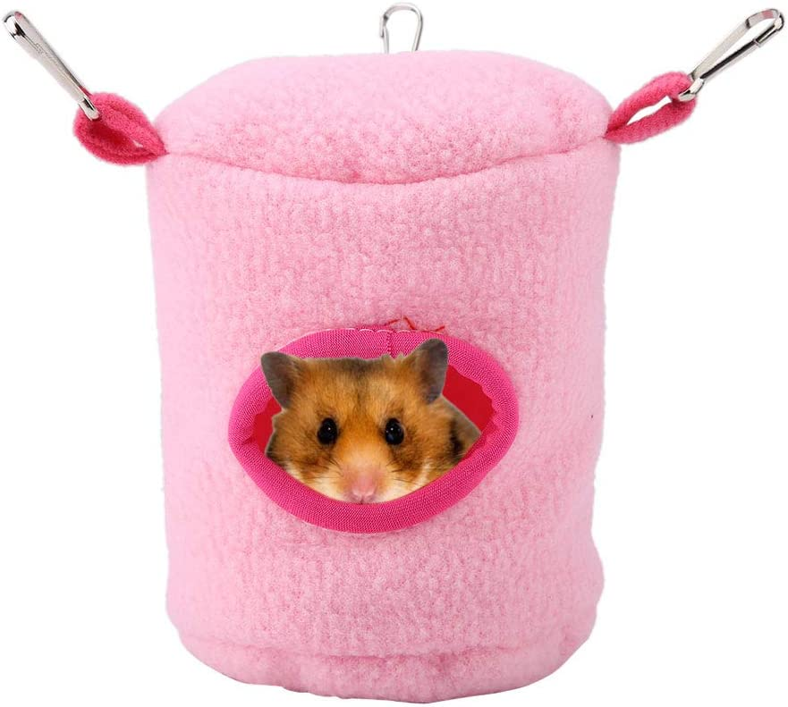 Pet Hamster Hanging Bed Small Pet Windproof Warm Hammock Stump Shaped Hanging Swing Sleeping Bed Cave for Hamsters for Hamster Squirrel Ferret Chinchilla Guinea Pig Rat Mice Small-Pink
