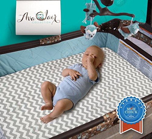 Travel Pack Play - Best All-in-1 Waterproof Pack N' Play: Baby Mattress Pad & Fitted Sheet, Heat-Resistant, Highly Durable for 300+ Washes, Hypoallergenic, for Mini, Portable, Convertible Crib Mattresses, 27