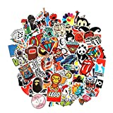 Cool Sticker 100pcs Random Music Film Vinyl Skateboard Guitar Travel Case Sticker Door Laptop Luggage Car Bike Bicycle Stickers (50pcs)