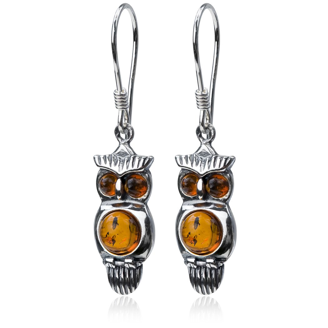 7dbeb0404ef574 Amazon.com: Sterling Silver Amber Owl Earrings Pendant Set Necklace 18  Inches: Jewelry