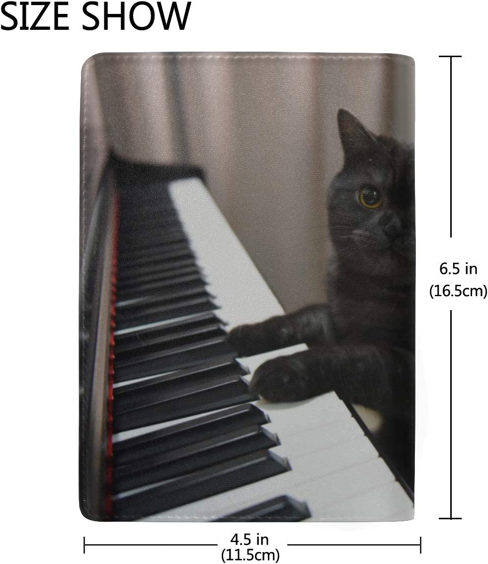 A Cute Cat Playing The Piano Blocking Print Passport Holder Cover Case Travel Luggage Passport Wallet Card Holder Made With Leather For Men Women Kids Family
