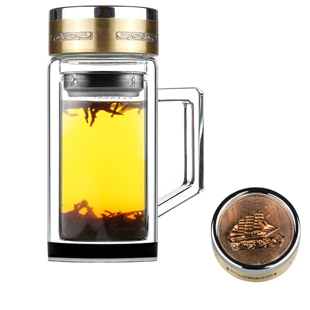 SELEWARE Ultra Clear Spill-proof Strong Double Wall Borosilicate Glass Tea Coffee Lemon Tumbler Cup Bottle with Loose Leaf Strainer and Handle, BPA Free, 14oz