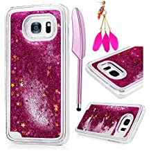 MOLLYCOOCLE Galaxy S7 Edge Case,Bling Sparkle Glitter Transparent Clear PC Hard Plastic Back Lovely Quicksand and Cute Star Flowing Liquid Cover for Samsung Galaxy S7 Edge - Red