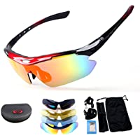 Polarized Sport Sunglasses, X7 Army Sunglasses Military Tactical Goggles With 4 Interchangeable Lens, Protective Glasses for Men and Women in Running Cycling Skiing Fishing-e.Polarized UV400 Sunglasses Outdoor Cycling Glasses