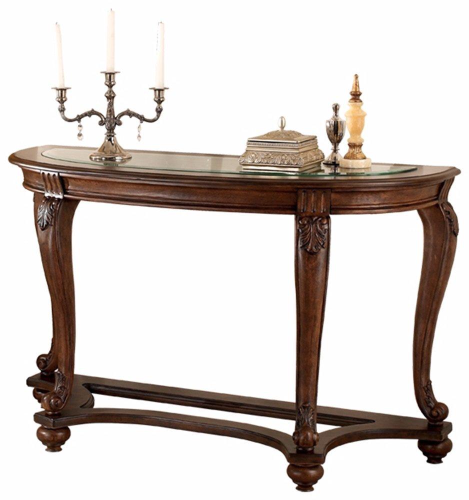 Ashley Furniture Signature Design - Norcastle Glass Top Sofa Table - Semi-Circle - Dark Brown