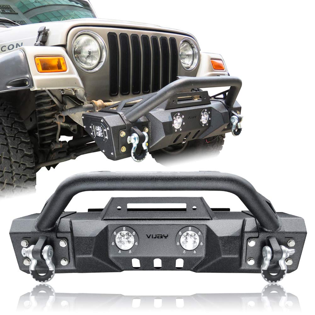 Vijay Texture Black Front Bumper with Two fog lights for 87-06 Jeep Wrangler TJ YJ